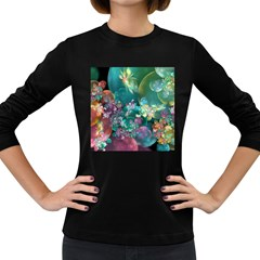 Butterflies, Bubbles, And Flowers Women s Long Sleeve Dark T-shirts by WolfepawFractals