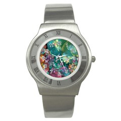 Butterflies, Bubbles, And Flowers Stainless Steel Watch by WolfepawFractals