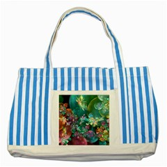 Butterflies, Bubbles, And Flowers Striped Blue Tote Bag by WolfepawFractals