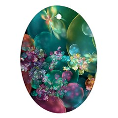 Butterflies, Bubbles, And Flowers Oval Ornament (two Sides) by WolfepawFractals