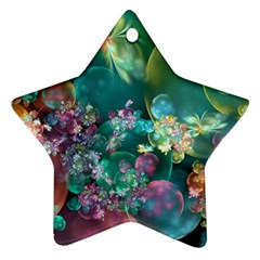 Butterflies, Bubbles, And Flowers Star Ornament (two Sides)  by WolfepawFractals