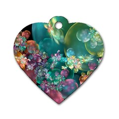 Butterflies, Bubbles, And Flowers Dog Tag Heart (two Sides) by WolfepawFractals