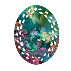 Butterflies, Bubbles, And Flowers Oval Filigree Ornament (2 Side)  by WolfepawFractals