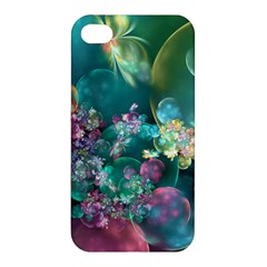 Butterflies, Bubbles, And Flowers Apple Iphone 4/4s Premium Hardshell Case by WolfepawFractals