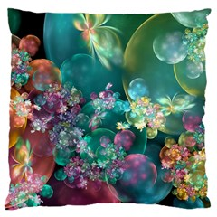 Butterflies, Bubbles, And Flowers Large Cushion Case (two Sides) by WolfepawFractals