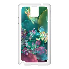 Butterflies, Bubbles, And Flowers Samsung Galaxy Note 3 N9005 Case (white) by WolfepawFractals