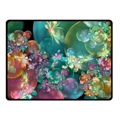 Butterflies, Bubbles, And Flowers Double Sided Fleece Blanket (small)  by WolfepawFractals