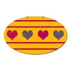 Decorative Harts Pattern Oval Magnet