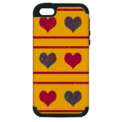 Decorative Harts Pattern Apple Iphone 5 Hardshell Case (pc+silicone) by Valentinaart