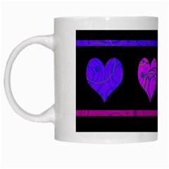 Purple And Magenta Harts Pattern White Mugs by Valentinaart