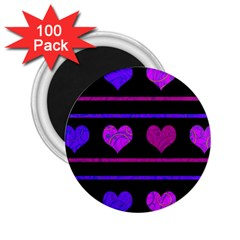 Purple And Magenta Harts Pattern 2 25  Magnets (100 Pack)