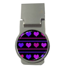 Purple And Magenta Harts Pattern Money Clips (round)  by Valentinaart