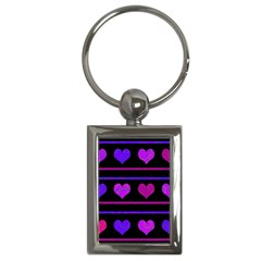 Purple And Magenta Harts Pattern Key Chains (rectangle)  by Valentinaart