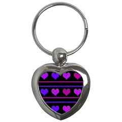Purple And Magenta Harts Pattern Key Chains (heart)  by Valentinaart