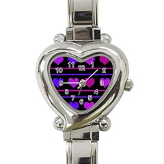 Purple And Magenta Harts Pattern Heart Italian Charm Watch by Valentinaart