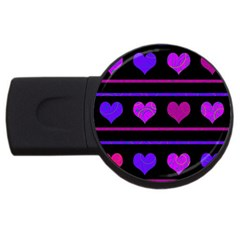 Purple And Magenta Harts Pattern Usb Flash Drive Round (4 Gb)  by Valentinaart