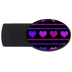 Purple And Magenta Harts Pattern Usb Flash Drive Oval (4 Gb)