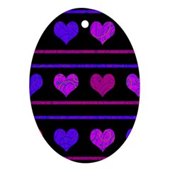 Purple And Magenta Harts Pattern Oval Ornament (two Sides) by Valentinaart