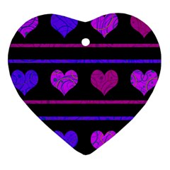 Purple And Magenta Harts Pattern Heart Ornament (2 Sides) by Valentinaart