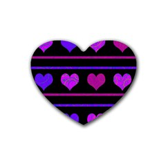 Purple And Magenta Harts Pattern Heart Coaster (4 Pack)  by Valentinaart