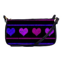 Purple And Magenta Harts Pattern Shoulder Clutch Bags by Valentinaart