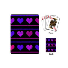 Purple And Magenta Harts Pattern Playing Cards (mini)  by Valentinaart