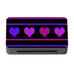 Purple And Magenta Harts Pattern Memory Card Reader With Cf by Valentinaart