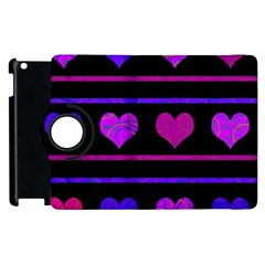 Purple And Magenta Harts Pattern Apple Ipad 2 Flip 360 Case by Valentinaart