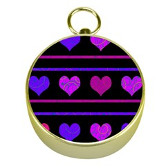 Purple And Magenta Harts Pattern Gold Compasses by Valentinaart