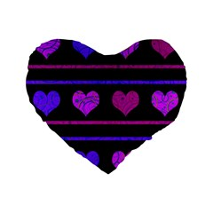Purple And Magenta Harts Pattern Standard 16  Premium Flano Heart Shape Cushions