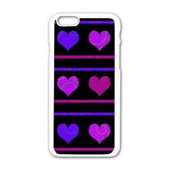 Purple And Magenta Harts Pattern Apple Iphone 6/6s White Enamel Case by Valentinaart