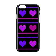 Purple And Magenta Harts Pattern Apple Iphone 6/6s Black Enamel Case by Valentinaart