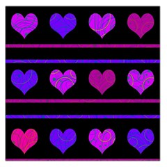 Purple And Magenta Harts Pattern Large Satin Scarf (square) by Valentinaart