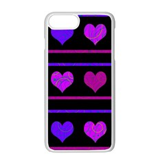 Purple And Magenta Harts Pattern Apple Iphone 7 Plus White Seamless Case by Valentinaart