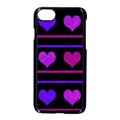 Purple And Magenta Harts Pattern Apple Iphone 7 Seamless Case (black) by Valentinaart