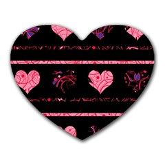 Pink Elegant Harts Pattern Heart Mousepads by Valentinaart