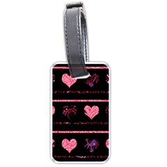 Pink Elegant Harts Pattern Luggage Tags (one Side)