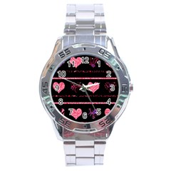 Pink Elegant Harts Pattern Stainless Steel Analogue Watch by Valentinaart