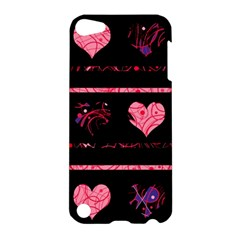 Pink Elegant Harts Pattern Apple Ipod Touch 5 Hardshell Case by Valentinaart