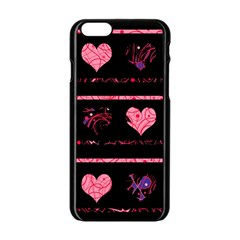 Pink Elegant Harts Pattern Apple Iphone 6/6s Black Enamel Case by Valentinaart