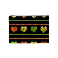 Colorful Harts Pattern Cosmetic Bag (medium)  by Valentinaart