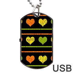 Colorful Harts Pattern Dog Tag Usb Flash (one Side)