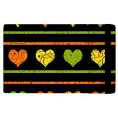 Colorful Harts Pattern Apple Ipad 2 Flip Case by Valentinaart