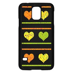 Colorful Harts Pattern Samsung Galaxy S5 Case (black) by Valentinaart