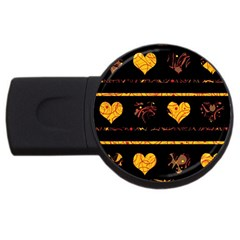 Yellow Harts Pattern Usb Flash Drive Round (2 Gb)  by Valentinaart