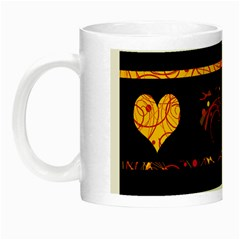 Yellow Harts Pattern Night Luminous Mugs by Valentinaart