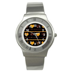 Yellow Harts Pattern Stainless Steel Watch by Valentinaart