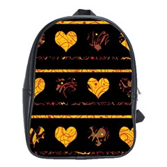 Yellow Harts Pattern School Bags(large)  by Valentinaart