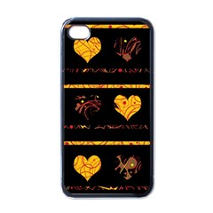 Yellow Harts Pattern Apple Iphone 4 Case (black) by Valentinaart
