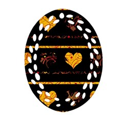 Yellow Harts Pattern Oval Filigree Ornament (2 Side)  by Valentinaart